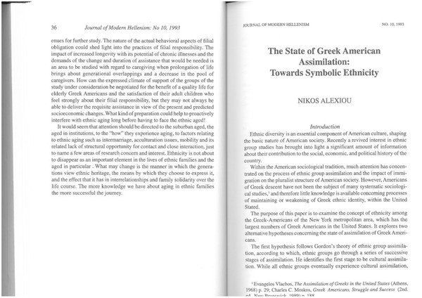 The State of Greek-American Assimilation - Alexiou