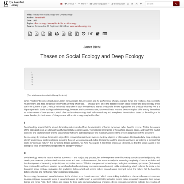 Theses on Social Ecology and Deep Ecology