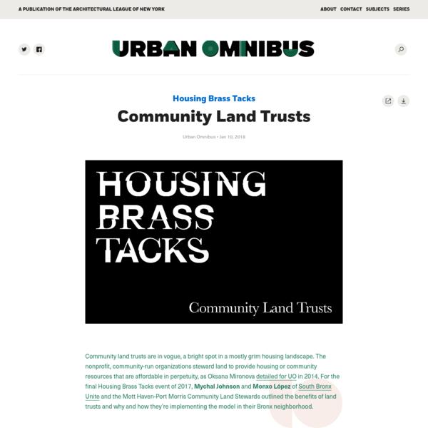 Community Land Trusts   Urban Omnibus