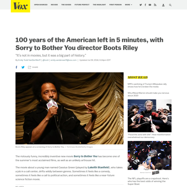 100 years of the American left in 5 minutes, with Sorry to Bother You director Boots Riley
