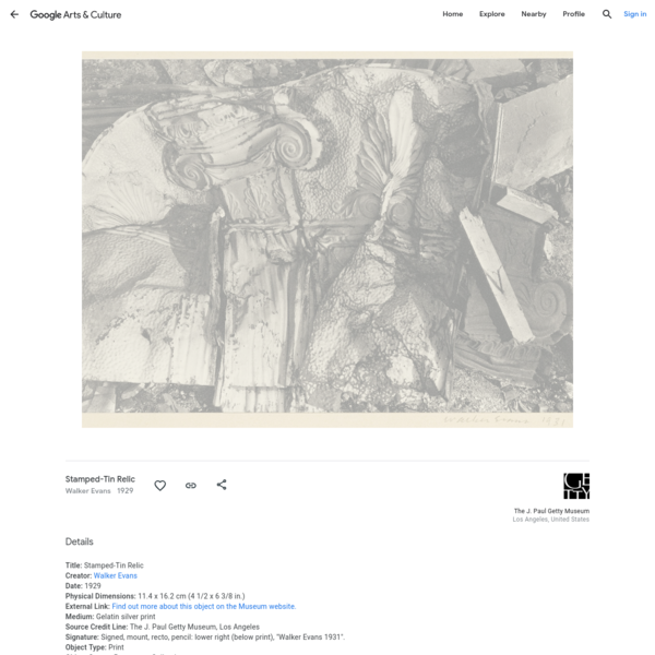 Stamped-Tin Relic - Walker Evans — Google Arts & Culture