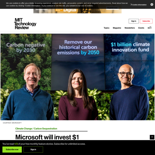 Microsoft will invest $1 billion into carbon reduction and removal technologies