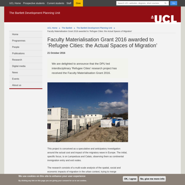 Faculty Materialisation Grant 2016 awarded to 'Refugee Cities: the Actual Spaces of Migration'