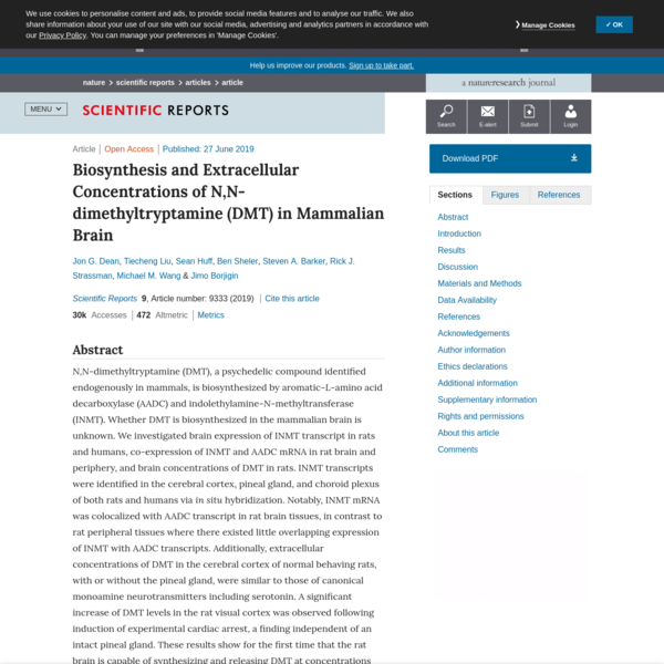 Biosynthesis and Extracellular Concentrations of N,N-dimethyltryptamine (DMT) in Mammalian Brain
