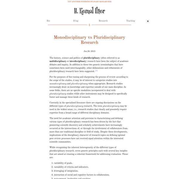 Monodisciplinary vs Pluridisciplinary Research - ILTER