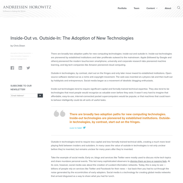 Inside-Out vs. Outside-In: The Adoption of New Technologies