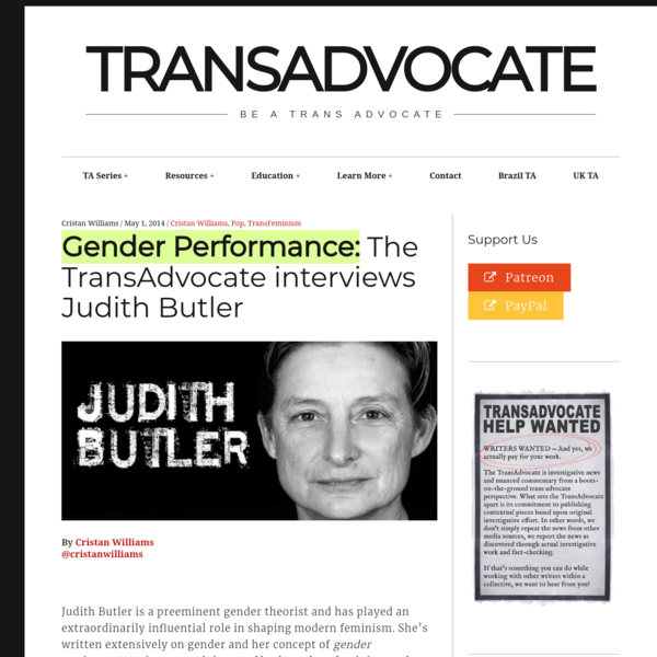 Gender Performance: The TransAdvocate interviews Judith Butler – TransAdvocate
