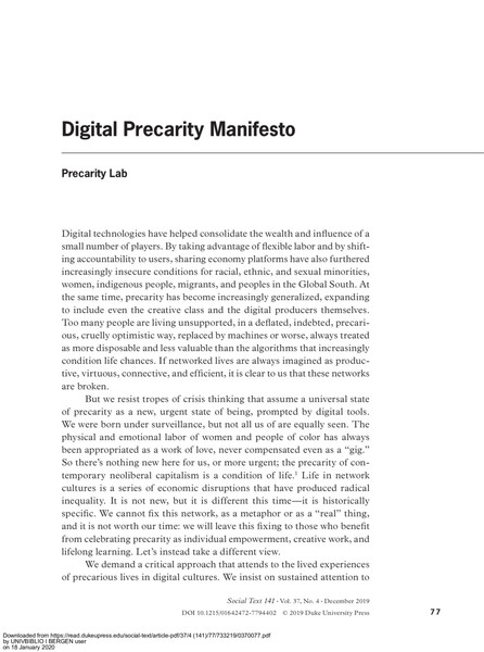 Digital Precarity Manifesto - Precarity Lab
