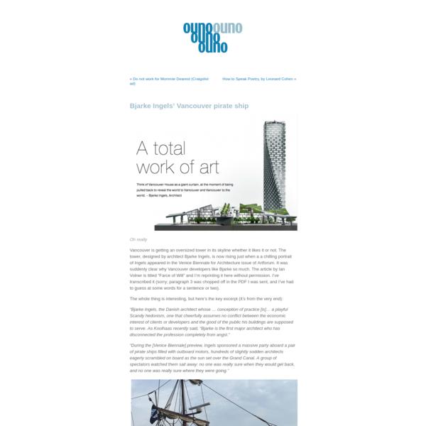"Ouno Design "" Bjarke Ingels' Vancouver pirate ship"