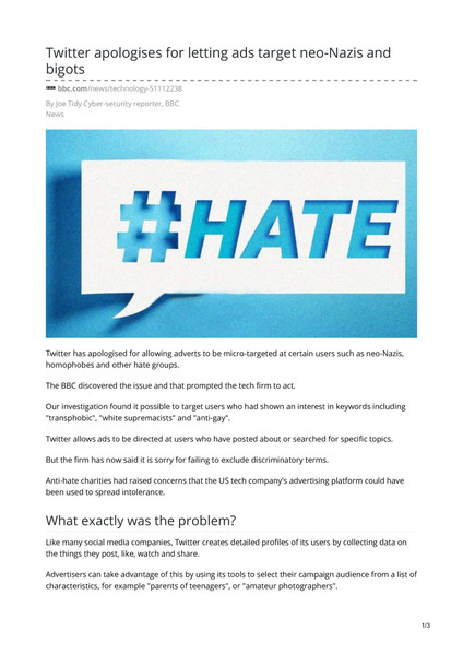 Twitter apologises for letting ads target neo-Nazis and bigots - By Joe Tidy