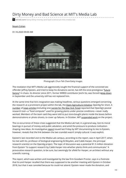 Dirty Money and Bad Science at MIT's Media Lab - The school's investigation shows that two separate scandals—over Jeffrey Epstein and OpenAg—were closely linked.