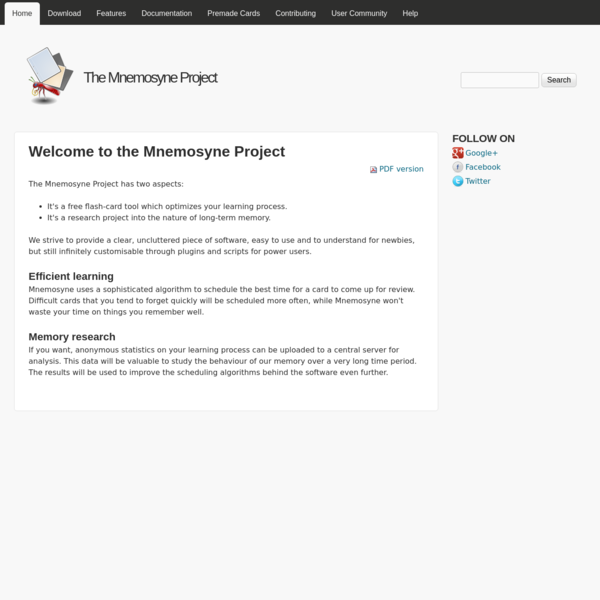 Welcome to the Mnemosyne Project