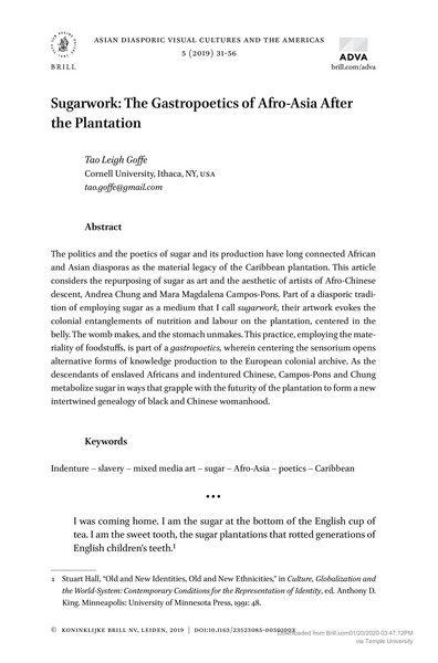 Sugarwork: Gastropoetics of Afro-Asia After the Plantation