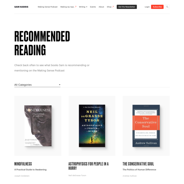 Recommended Readings Archive | Sam Harris
