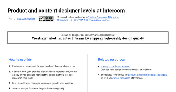 Product and content designer levels at Intercom