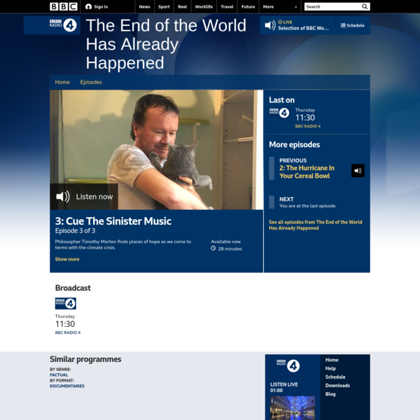 BBC Radio 4 - The End of the World Has Already Happened, 3: Cue The Sinister Music