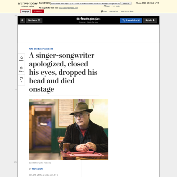 Singer-songwriter David Olney died on stage - The Washington Post
