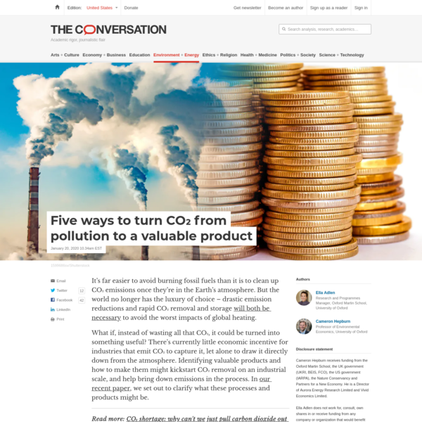 Five ways to turn CO₂ from pollution to a valuable product