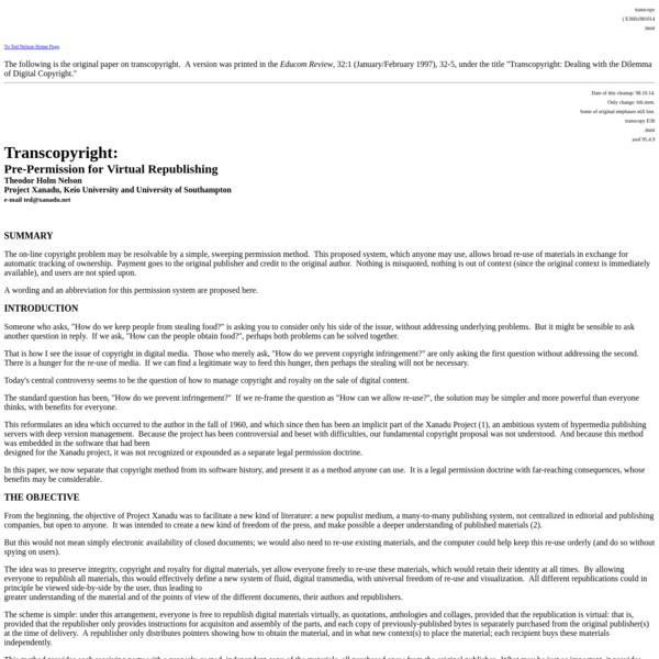Transcopyright: Pre-Permission for Virtual Republishing