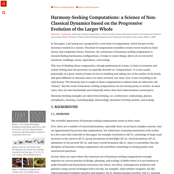 Harmony-Seeking Computations: a Science of Non-Classical Dynamics based on the Progressive Evolution of the Larger Whole | A...
