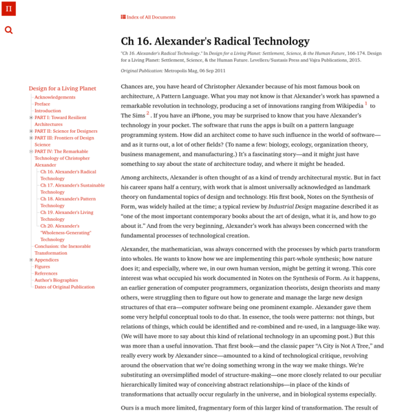 Ch 16. Alexander's Radical Technology | Architecture's New Scientific Foundations