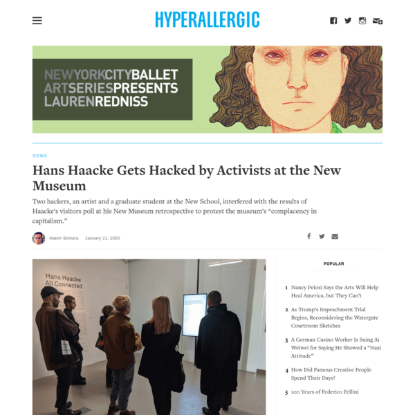 Hans Haacke Gets Hacked by Activists at the New Museum