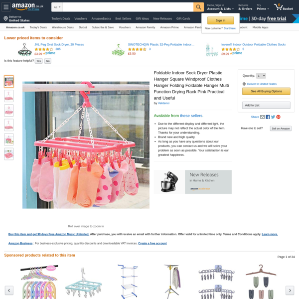 Foldable Indoor Sock Dryer Plastic Hanger Square Windproof Clothes Hanger Folding Foldable Hanger Multi Function Drying Rack Pink Practical and Useful: Amazon.co.uk: Welcome
