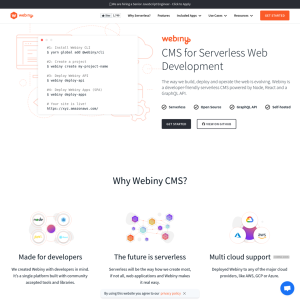 Webiny - Serverless CMS powered by GraphQL and React