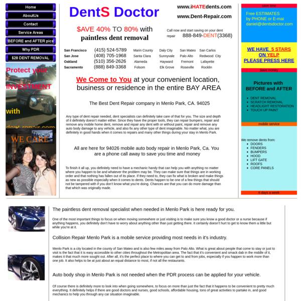 Dent Repair Menlo Park call us today 888-849-3368 the best service