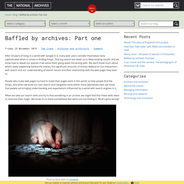 Baffled by archives: Part one - The National Archives blog