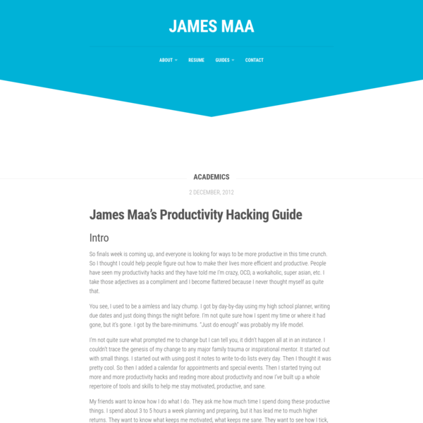 James Maa's Productivity Hacking Guide - James Maa