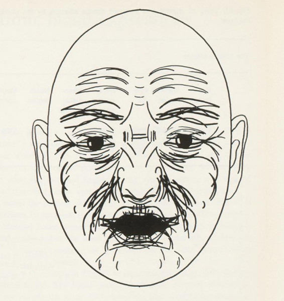 Schematic presentation in a single picture of all muscle effects. Carl-Herman Hjortsjö, Man's Face and Mimic Language (1970), 65.