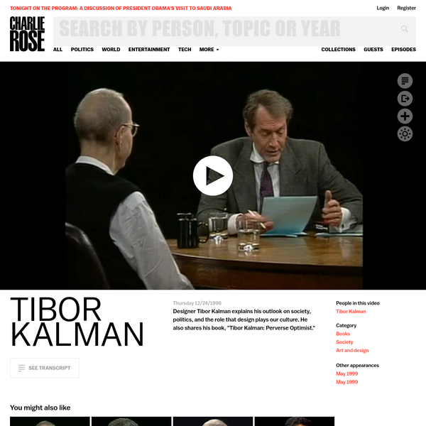 Designer Tibor Kalman explains his outlook on society, politics, and the role that design plays in our culture.