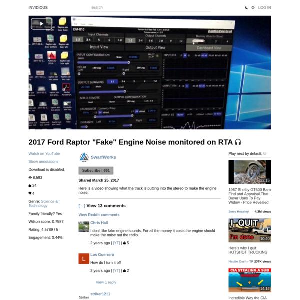 "2017 Ford Raptor ""Fake"" Engine Noise monitored on RTA"