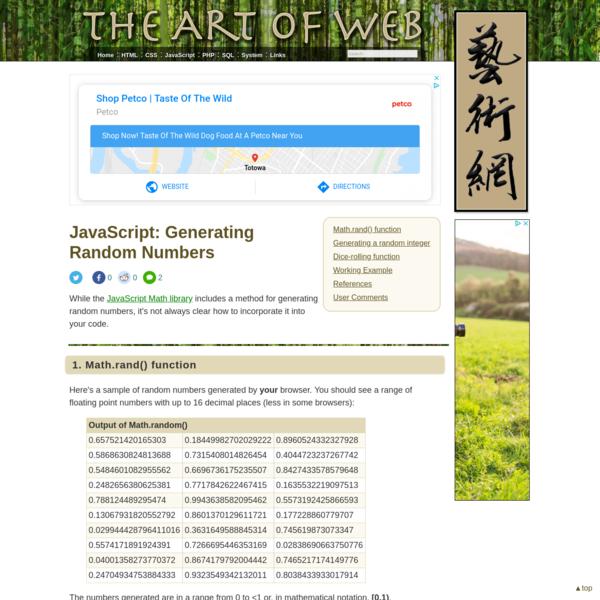 Generating Random Numbers < JavaScript   The Art of Web