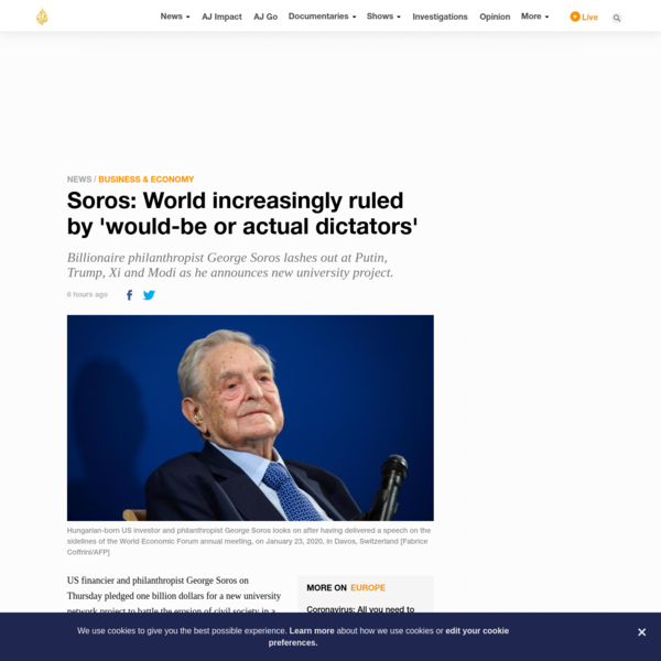 Soros: World increasingly ruled by 'would-be or actual dictators'