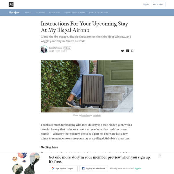 Instructions For Your Upcoming Stay At My Illegal Airbnb
