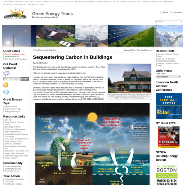 Sequestering Carbon in Buildings