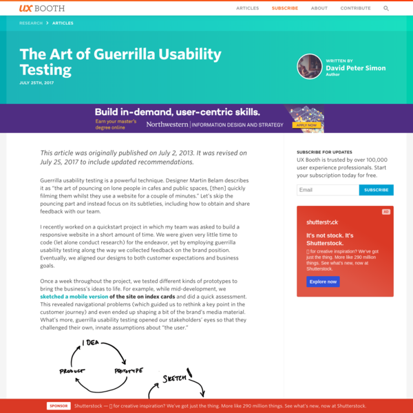 The Art of Guerrilla Usability Testing | UX Booth