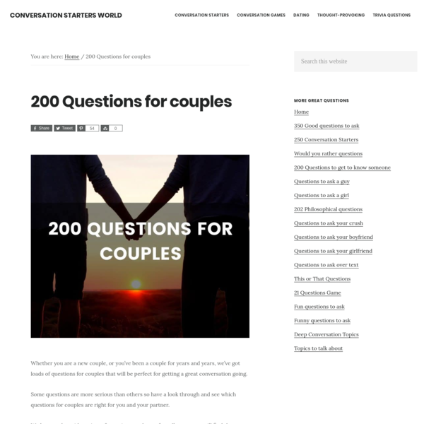 200 Questions for couples - The best list of questions for relationships