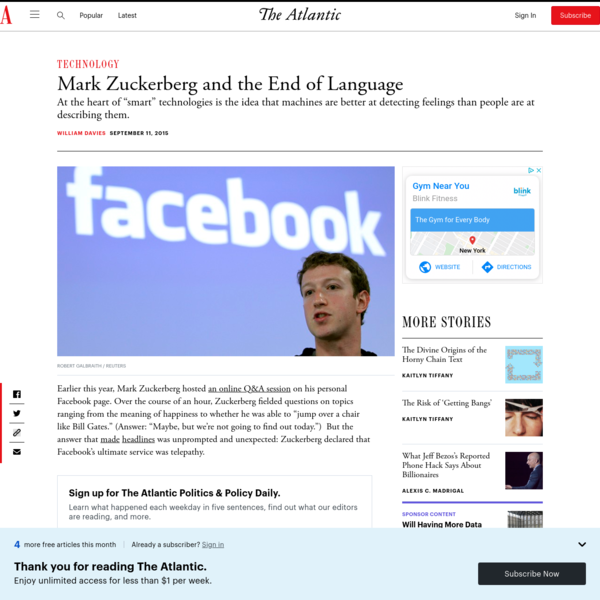 Mark Zuckerberg and the End of Language