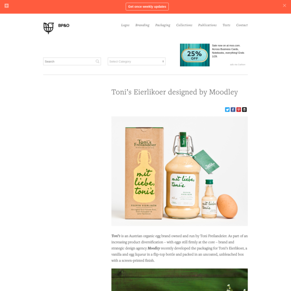 New Packaging for Toni's Eierlikoer by Moodley - BP&O