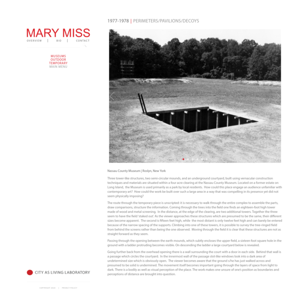 PERIMETERS/PAVILIONS/DECOYS | Mary Miss