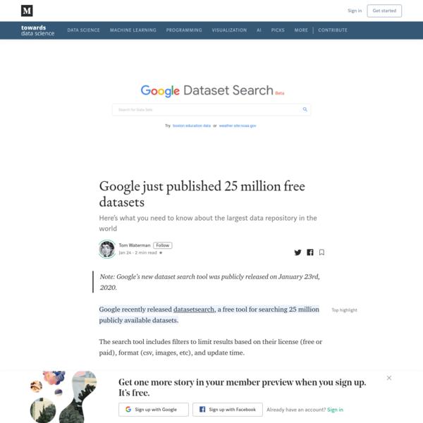 Google just published 25 million free datasets