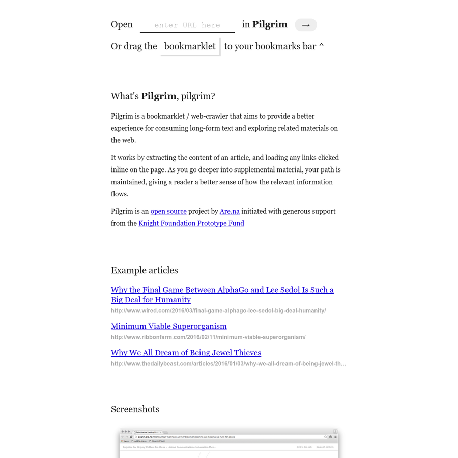 Pilgrim is a bookmarklet / web-crawler that aims to provide a better experience for consuming long-form text and exploring related materials on the web.