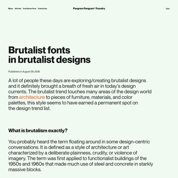 Brutalist fontsin brutalist designs