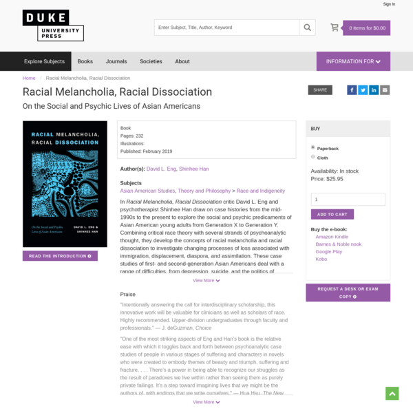 Racial Melancholia, Racial Dissociation