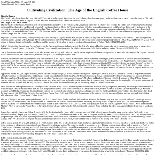 Cultivating Civilization: The Age of the English Coffee House