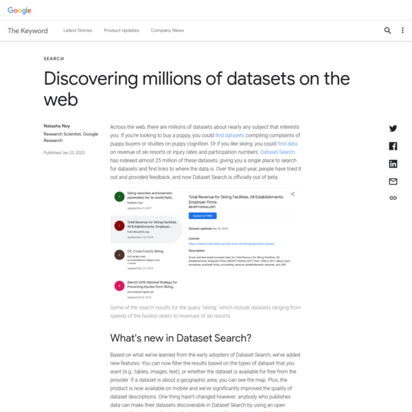 Discovering millions of datasets on the web