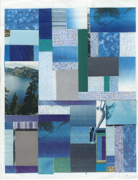 "Frederick Weston's ""Blue Bathroom Blues #13,"" 1999, collage on color photocopy."